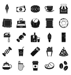 Dining room icons set simple style vector