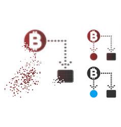 dissipated pixel halftone bitcoin cashflow scheme vector image