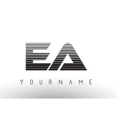 Ea e a black and white horizontal stripes letter vector