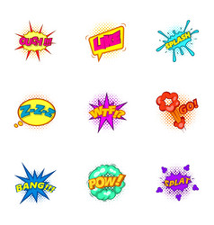 explosive stickers icons set cartoon style vector image vector image