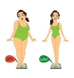 Fat and slim woman on weights scales vector