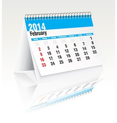 february 2014 desk calendar vector image