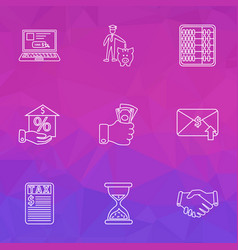 finance icons line style set with handshake taxes vector image
