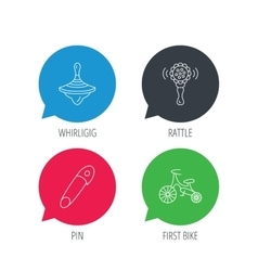 First bike whirligig and rattle toy icons vector