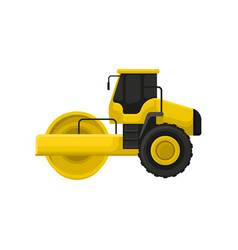 flat icon of yellow road roller vector image