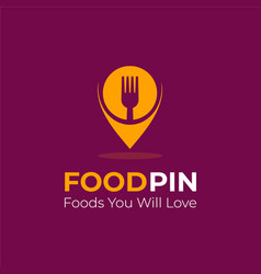 Foodpin - a cool food logo for restaurant vector