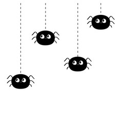 Four hanging black spiders on dash line web happy vector