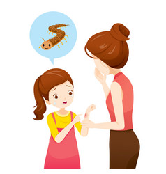 Girl crying centipede sting on her arm vector