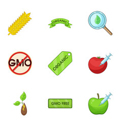 Gmo icons set cartoon style vector