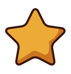 Gold star icon cartoon game style vector