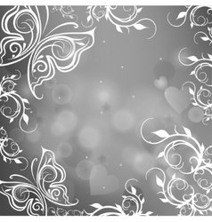 Gray background with butterflies vector