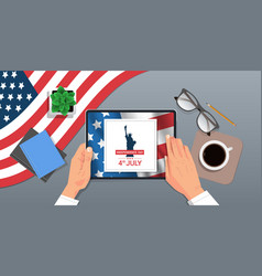 hands using tablet with liberty statue on screen vector image