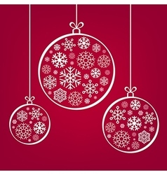 Hanging Christmas balls from snowflakes and ribbon vector image
