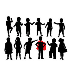 Happy and attractive kids silhouettes vector