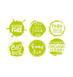 healthy organic natural farm food labels templates vector image