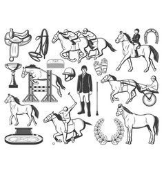 Horserace polo racing sport and hippodrome items vector