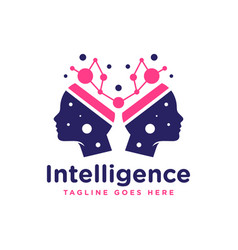 human brain intelligence logo vector image