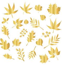 icon set gold foil leaves foliage nature vector image