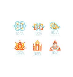 india yoga studio logo set health center labels vector image