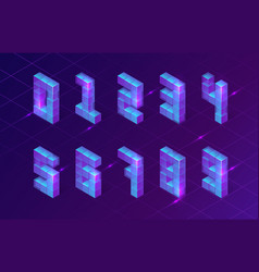 Isometric purple numbers made 3d cubes signs vector