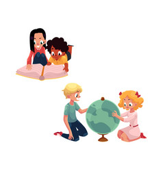 Kids children studying a globe reading a book vector
