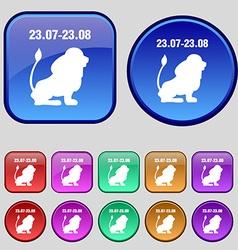 Leo zodiac icon sign A set of twelve vintage vector image