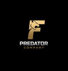 Letter f tiger predator logo design vector