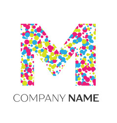 Letter m logo with blue yellow red particles vector