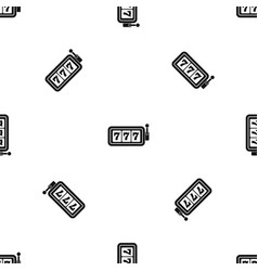 Lucky seven on slot machine pattern seamless black vector