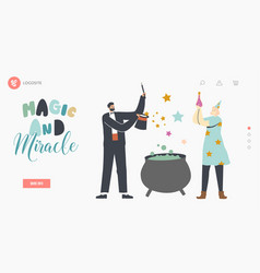Magic and miracle landing page template vector
