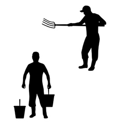 Man with pitchfork and buckets vector