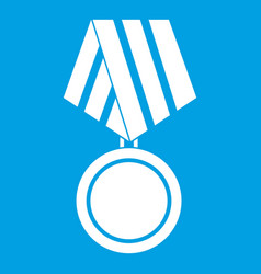 Military medal icon white vector
