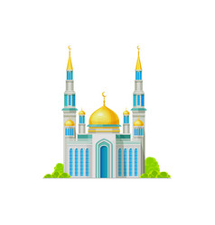 Mosque with golden dome and crescent moon isolated vector