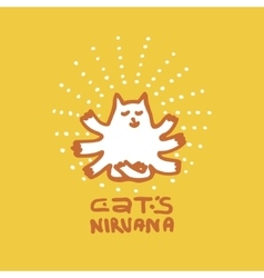 Multi-armed cat who has attained Nirvana vector