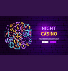 night casino neon banner design vector image