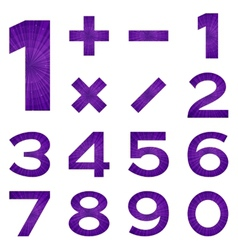 Numbers set violet space vector image