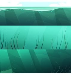 Ocean Green Water Horizontal Banners Set vector