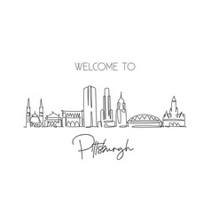 one single line drawing pittsburgh city vector image
