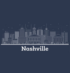 Outline nashville tennessee usa city skyline with vector