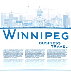 Outline Winnipeg Skyline with Blue Buildings vector
