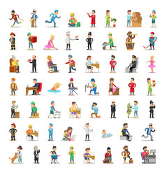 people characters collection cartoon set vector image