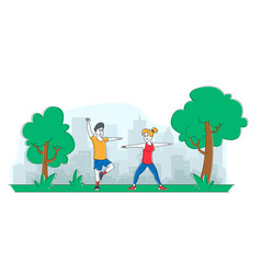 people sports exercises in park male and female vector image