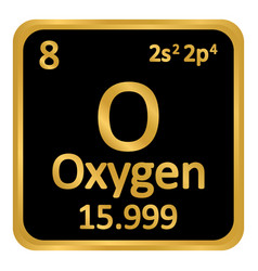 Periodic table element oxygen icon vector