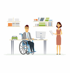 Person with disabilities at work - modern cartoon vector