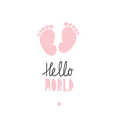 pink little baby feet card vector image