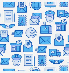 post office seamless pattern with thin line icons vector image