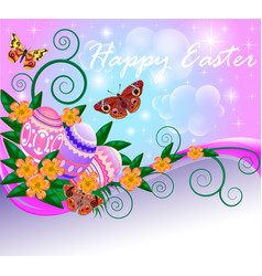 poster greeting card for easter with eggs vector image