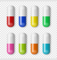 realistic 3d different color medical pill vector image
