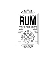 rum vintage label design alcohol industry vector image