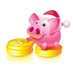 Santa piggy bank vector